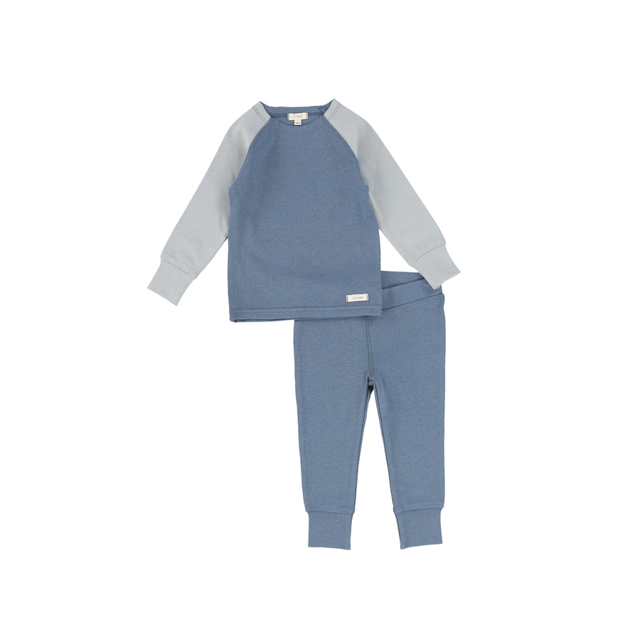 Blue Long Sleeve Raglan Pajamas by Lil Leggs