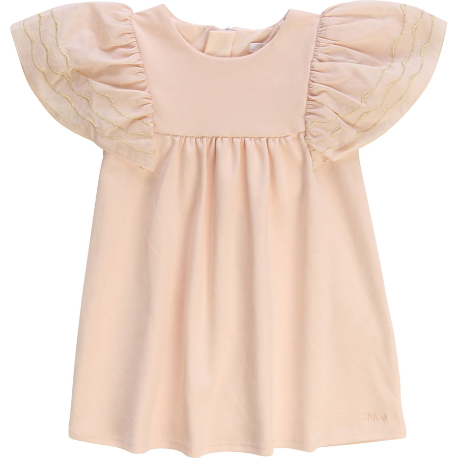 Chloe Baby Girl Dress with Embroidered Sleeves