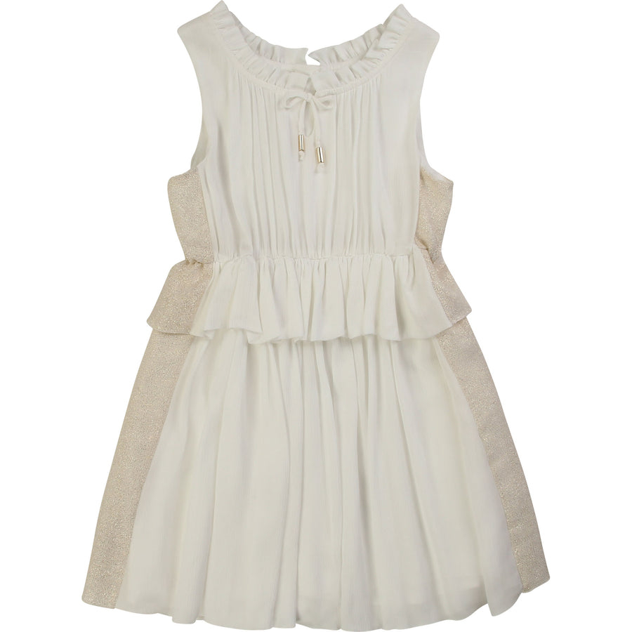 Chloe Two Tone Knot Dress with Ruffle Waist