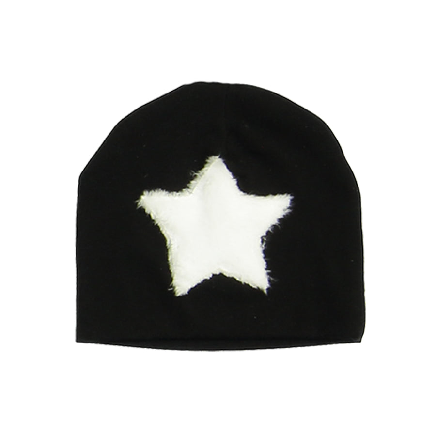 Black Fur Patch Beanie by Maniere