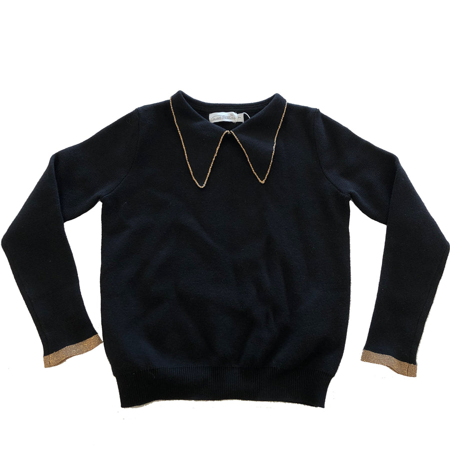 Black Knit Collared Sweater by Froo