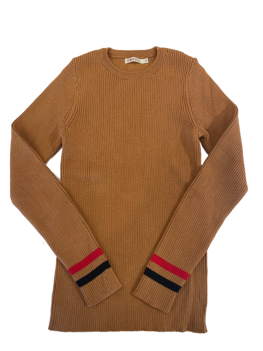 Camel Contrast Stripe Rib Knit Sweater by Poppy