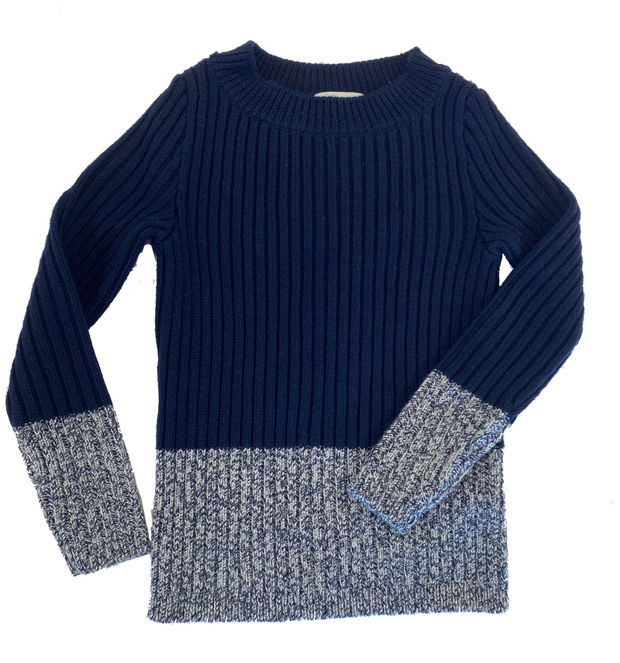 Indigo Wool Pullover Sweater by Mabli