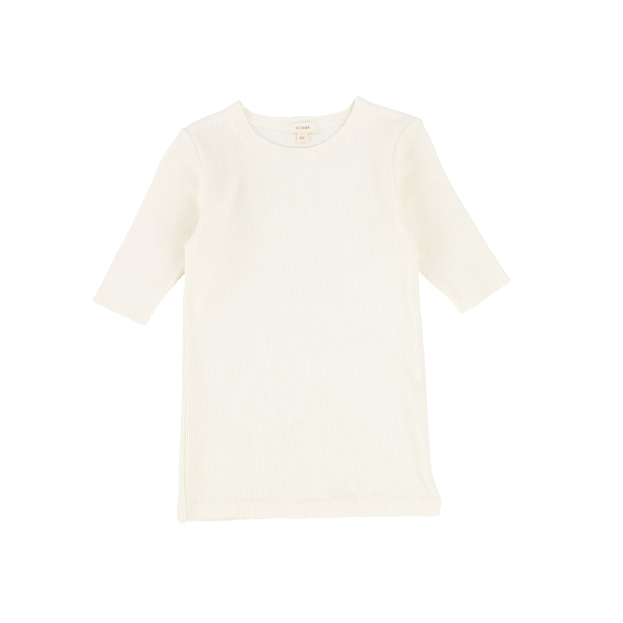 Ivory 3/4 Sleeve Ribbed T-Shirt by Lil Leggs