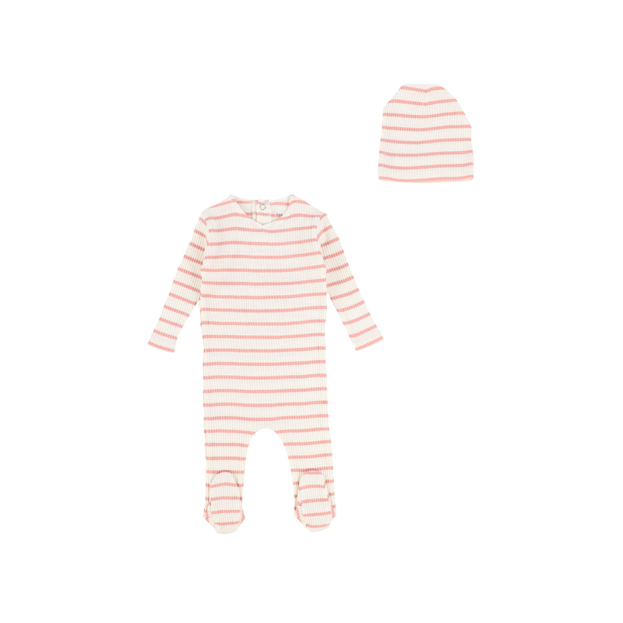 Ivory/Pink Striped Ribbed Footie by Bee and Dee