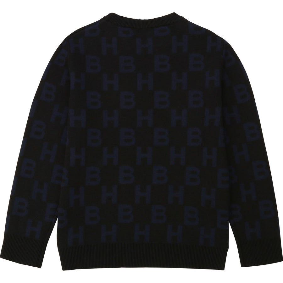 HB Allover Print Knitted Sweater by Hugo Boss