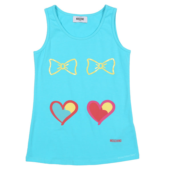 Dual Hearts & Bows Tank by Moschino