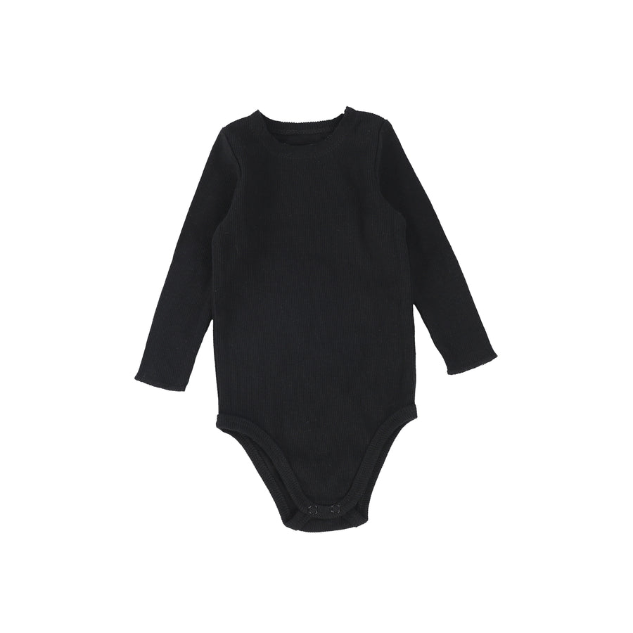 Black Rib Onesie by Lil Leggs