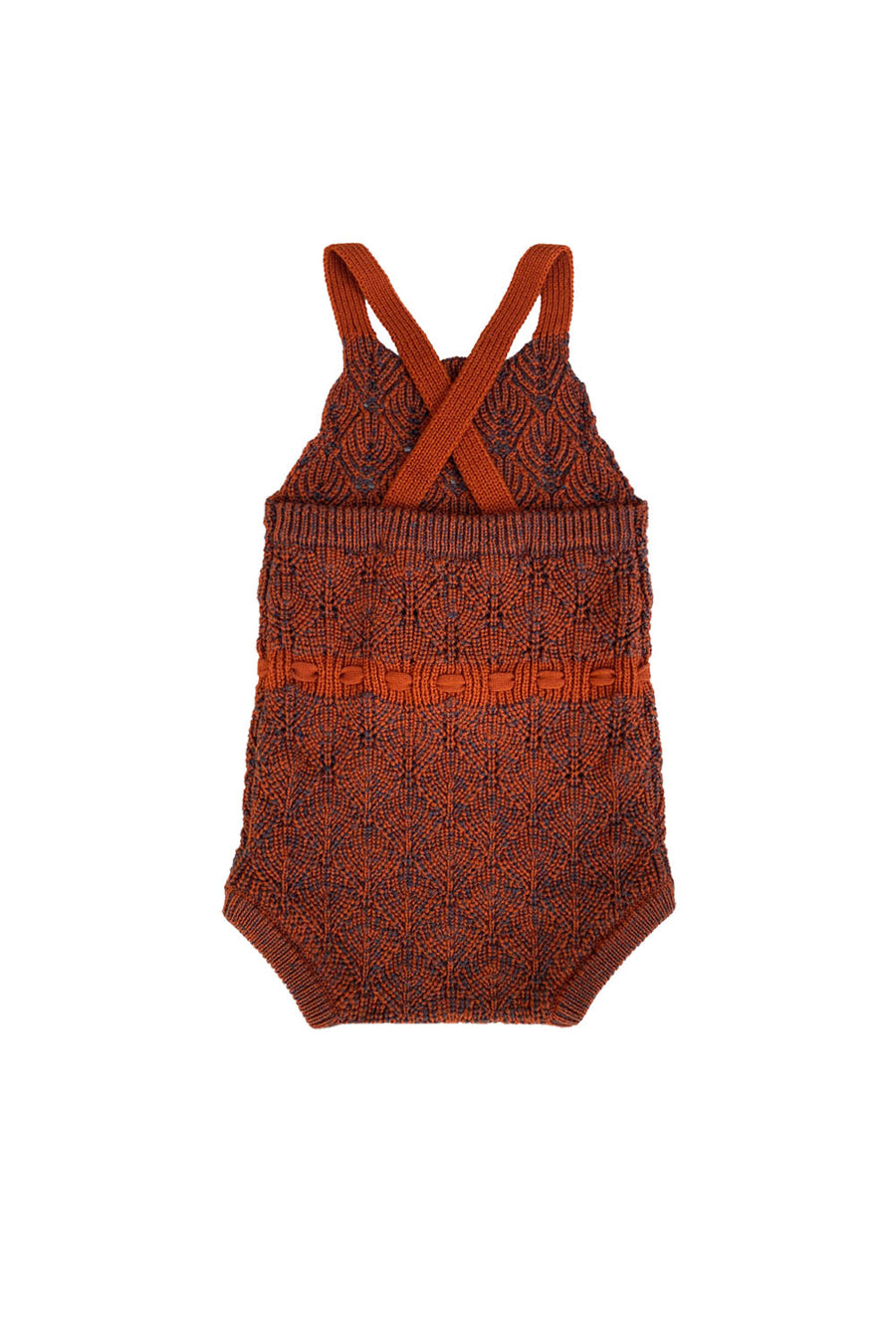 Brick/Cocoa Knitted Romper by Mabli