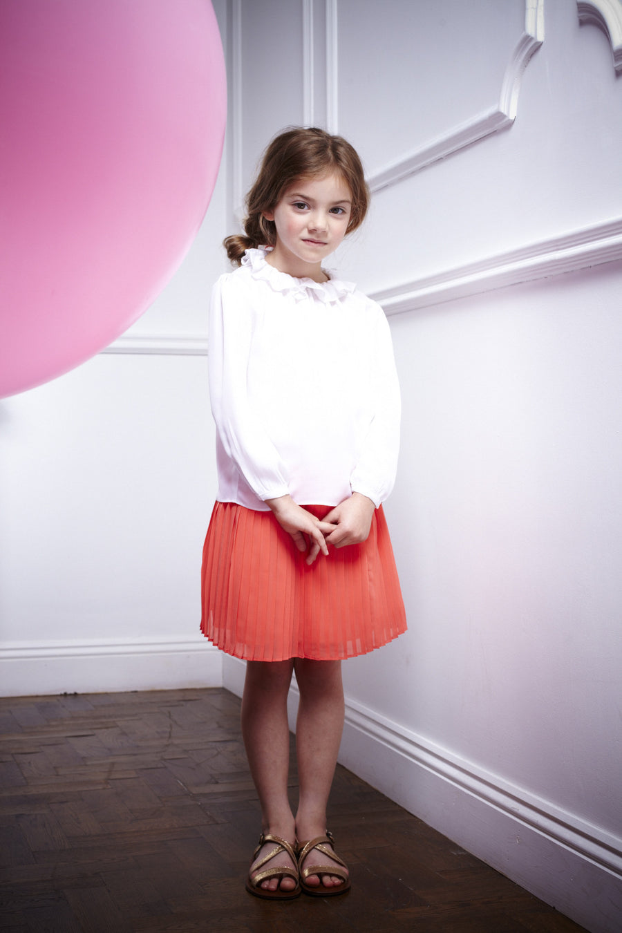 Coral Pleated Skirt by Marie Chantal