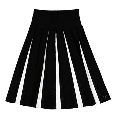 White and Black Pleated Skirt by Poppy