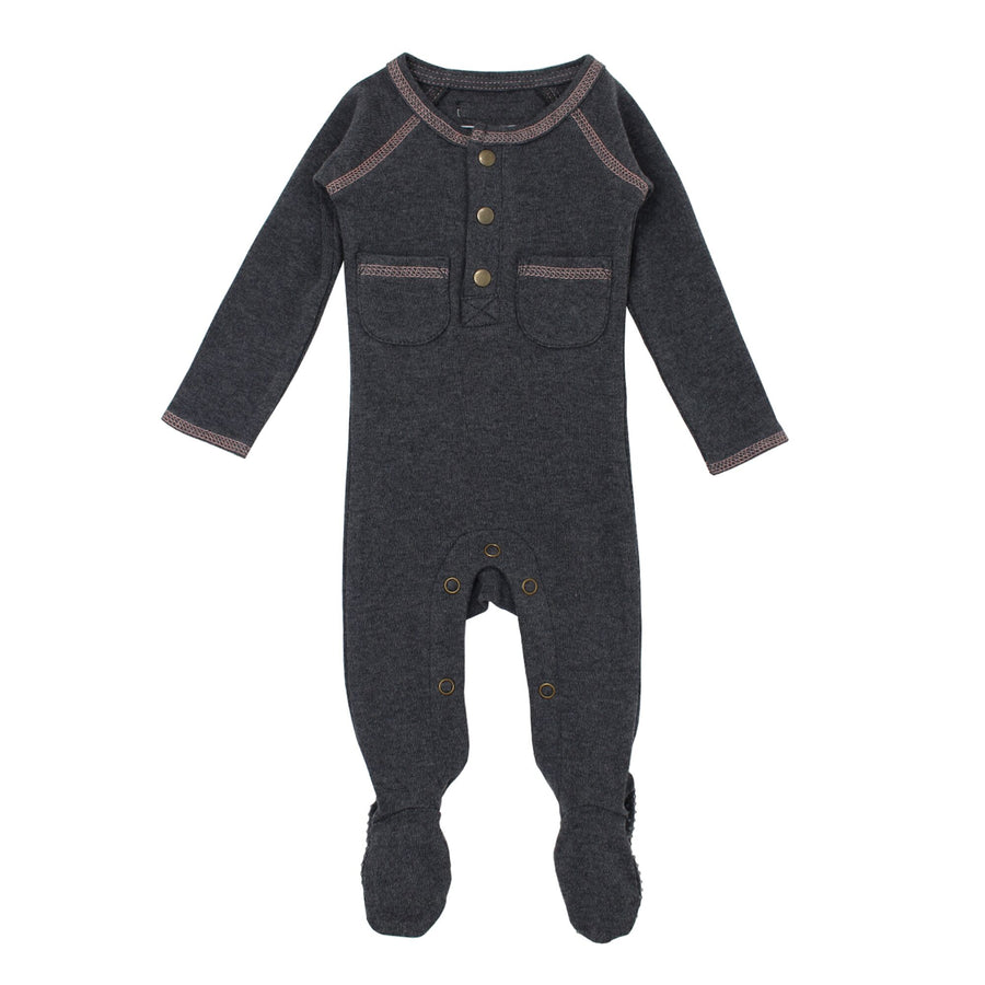 Mauve Stitching Pocket Footie by L'ovedbaby