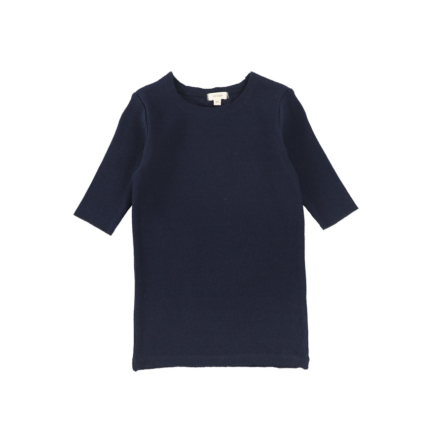 Navy 3/4 Sleeve Ribbed T-Shirt by Lil Leggs