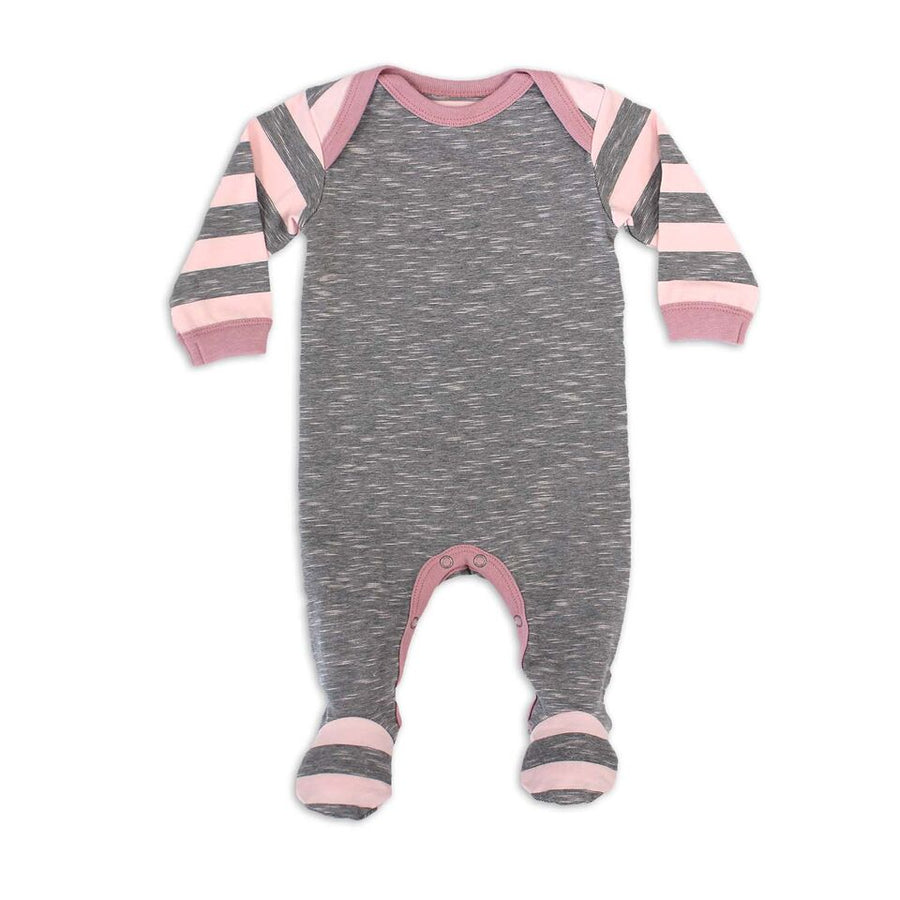 Striped Pink Footie By Coccoli - Flying Colors Baby