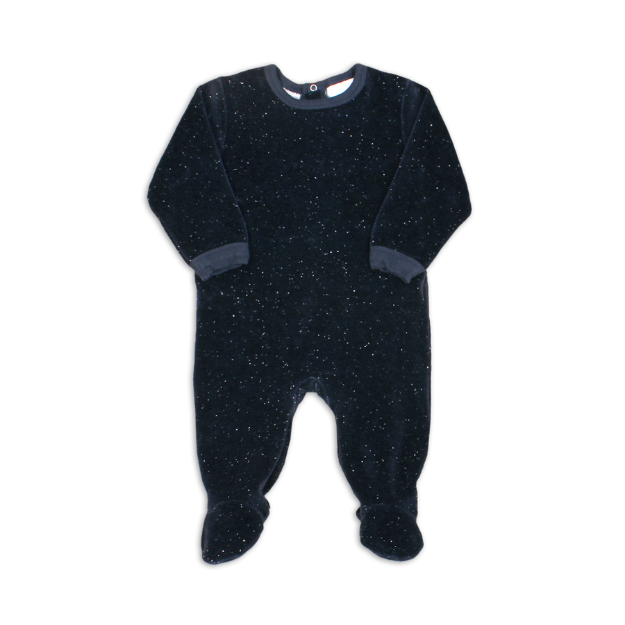 Blue Nights Velour Footie by Coccoli