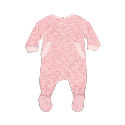 Pink Space Dye Velour Footie by Coccoli