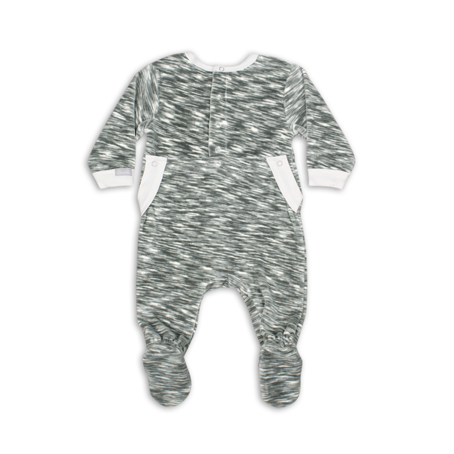 Grey Space Dye Velour Footie by Coccoli