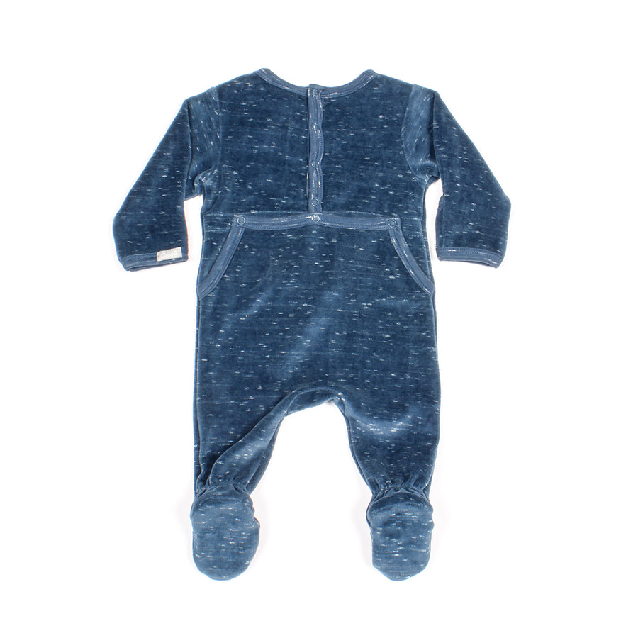 Back Opening Blue Velour Footie by Coccoli