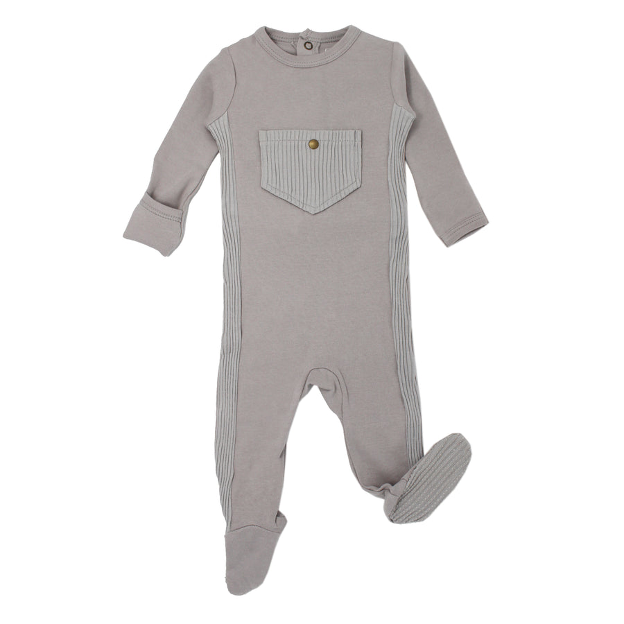 Grey Ribbed Footie by L'ovedbaby