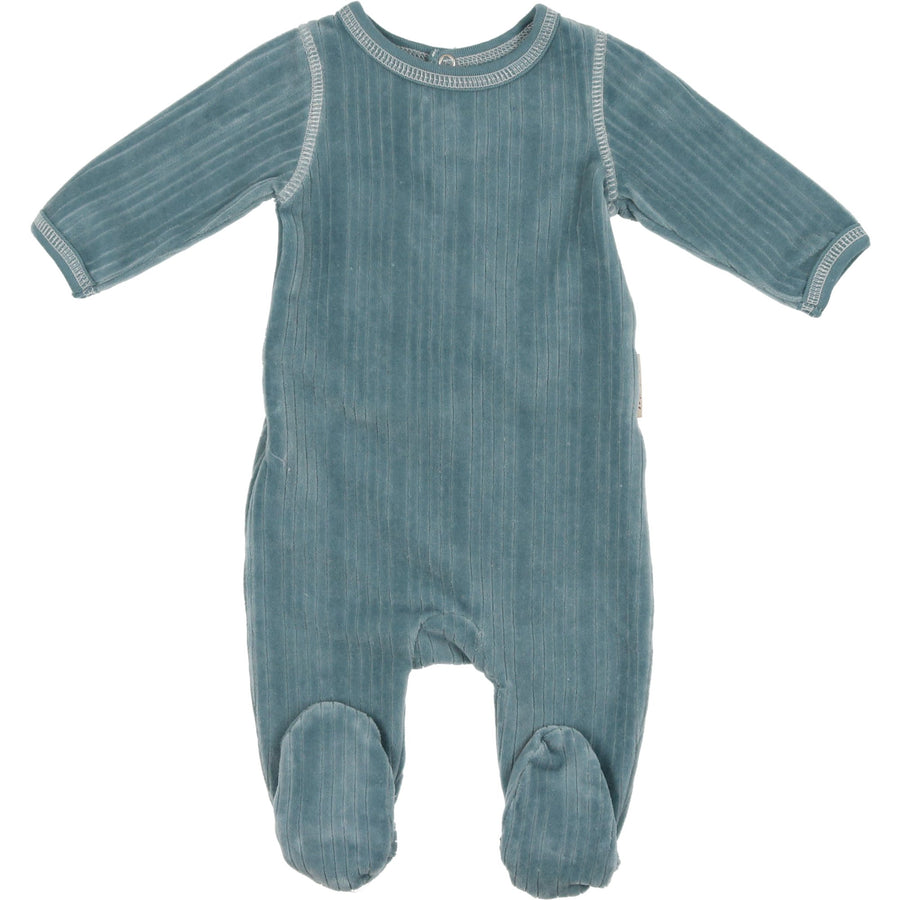 Slate Blue Ribbed Outline Collection Footie by Mon Tresor