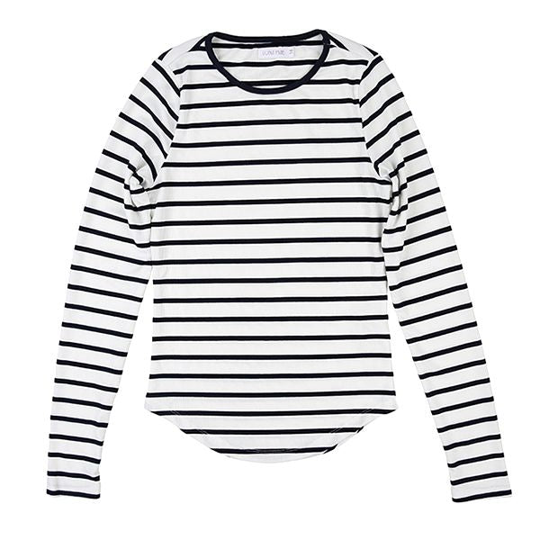 Navy White Ribbed Stripe Tee by Luna Mae