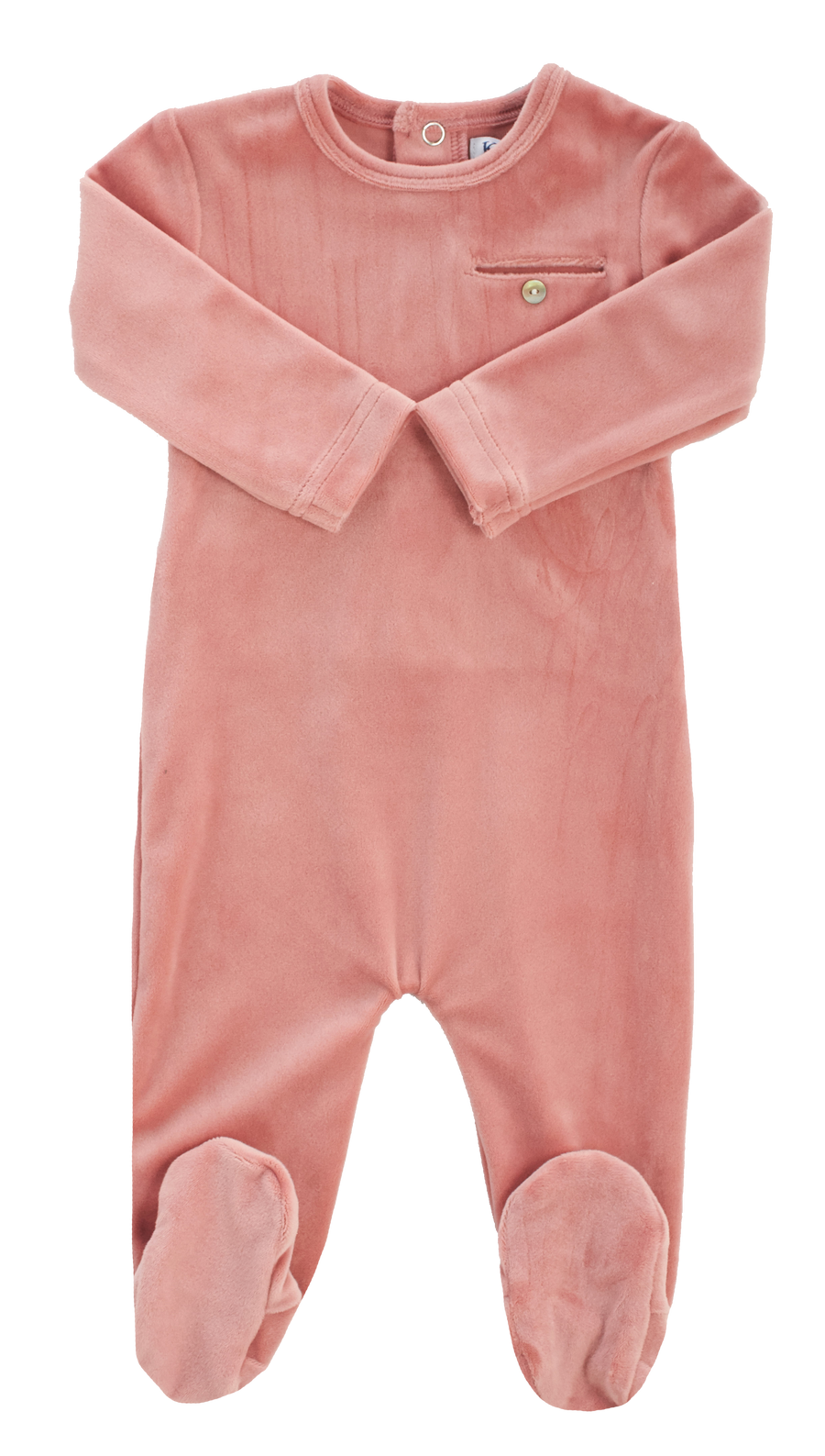 Pink Velour Footie by Kipp