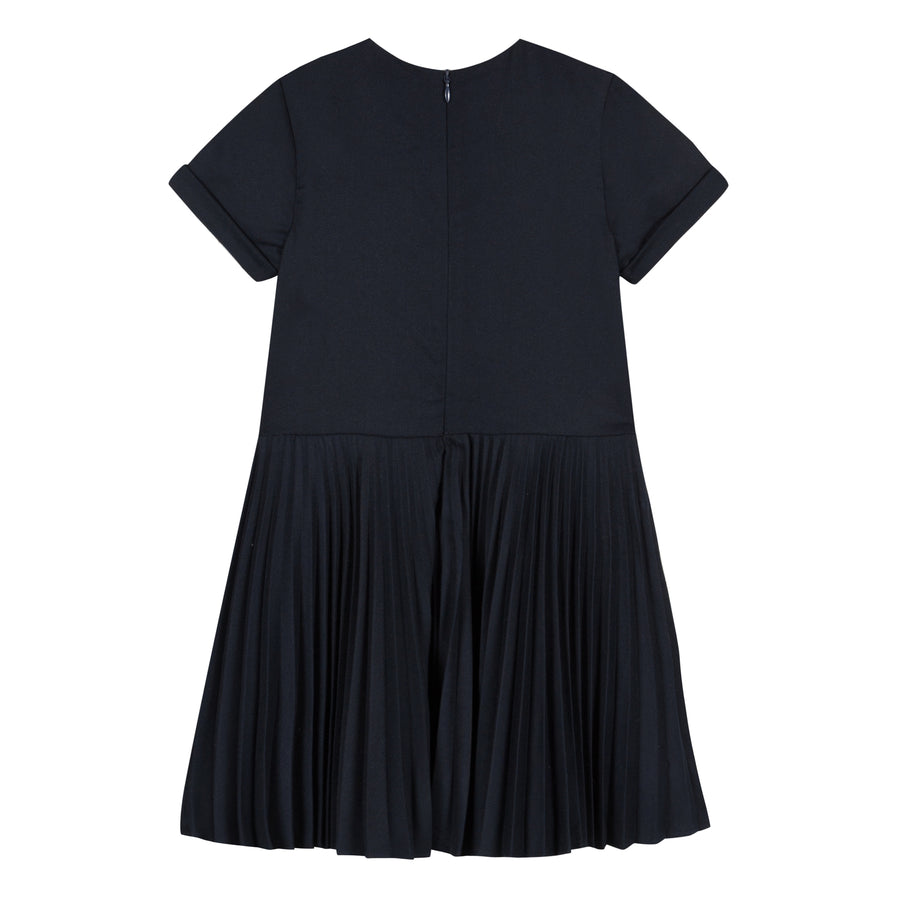 Navy Button Pleated Dress by Tartine et Chocolat