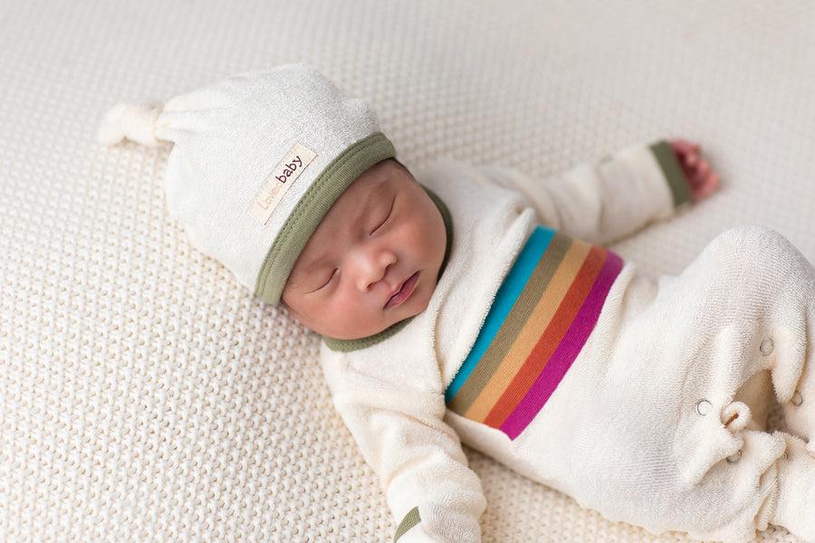 Sage Terry Organic Top Knot Hat by L'ovedbaby