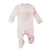 Blush Velveteen Footie and Hat Set by L'ovedbaby