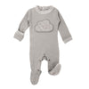 Light Grey Velveteen Footie and Hat Set by L'ovedbaby