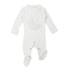 White Velveteen Footie and Hat Set by L'ovedbaby