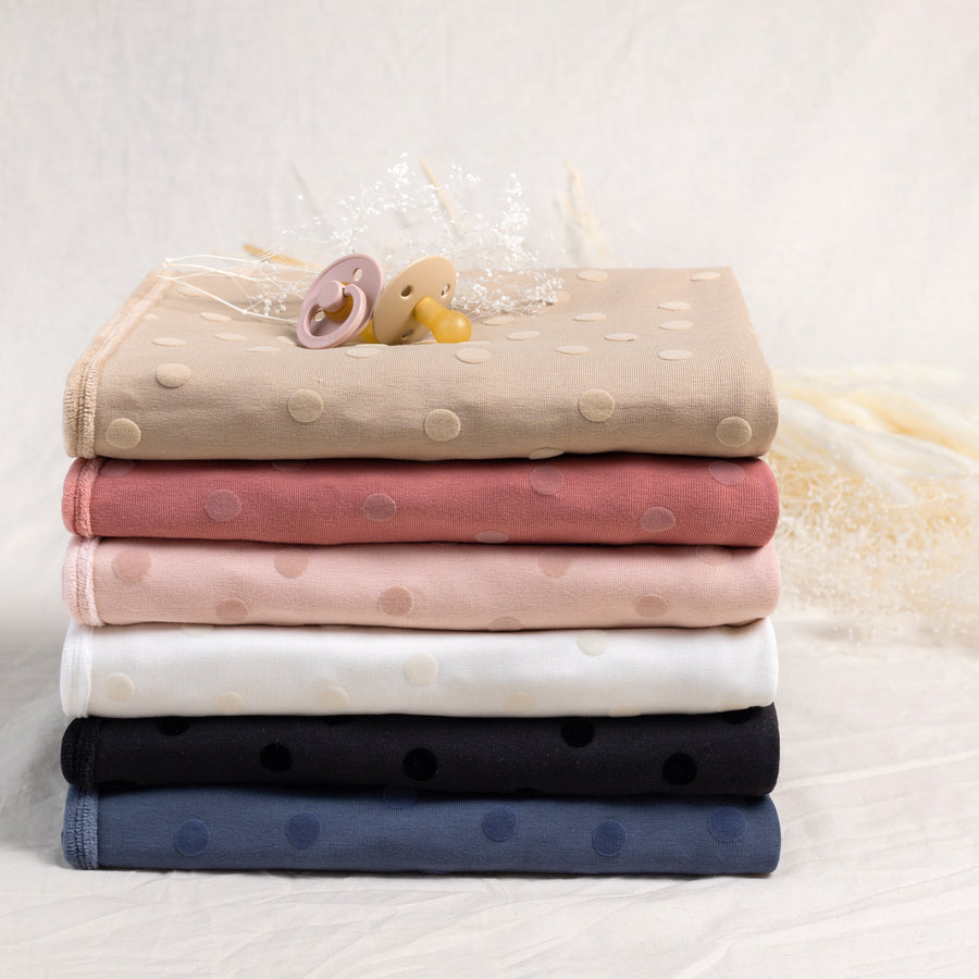 Soft Blush Velour Dot Blanket by Bee and Dee