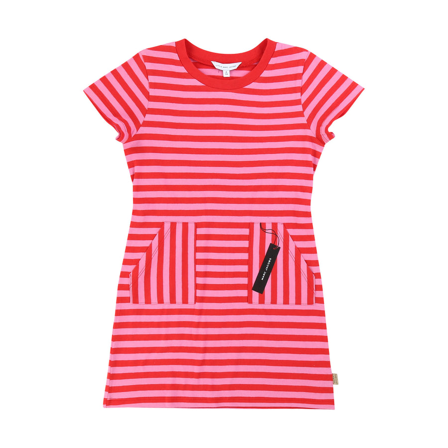 Rose Red Striped Dress with Logo Tag by Little Marc Jacob