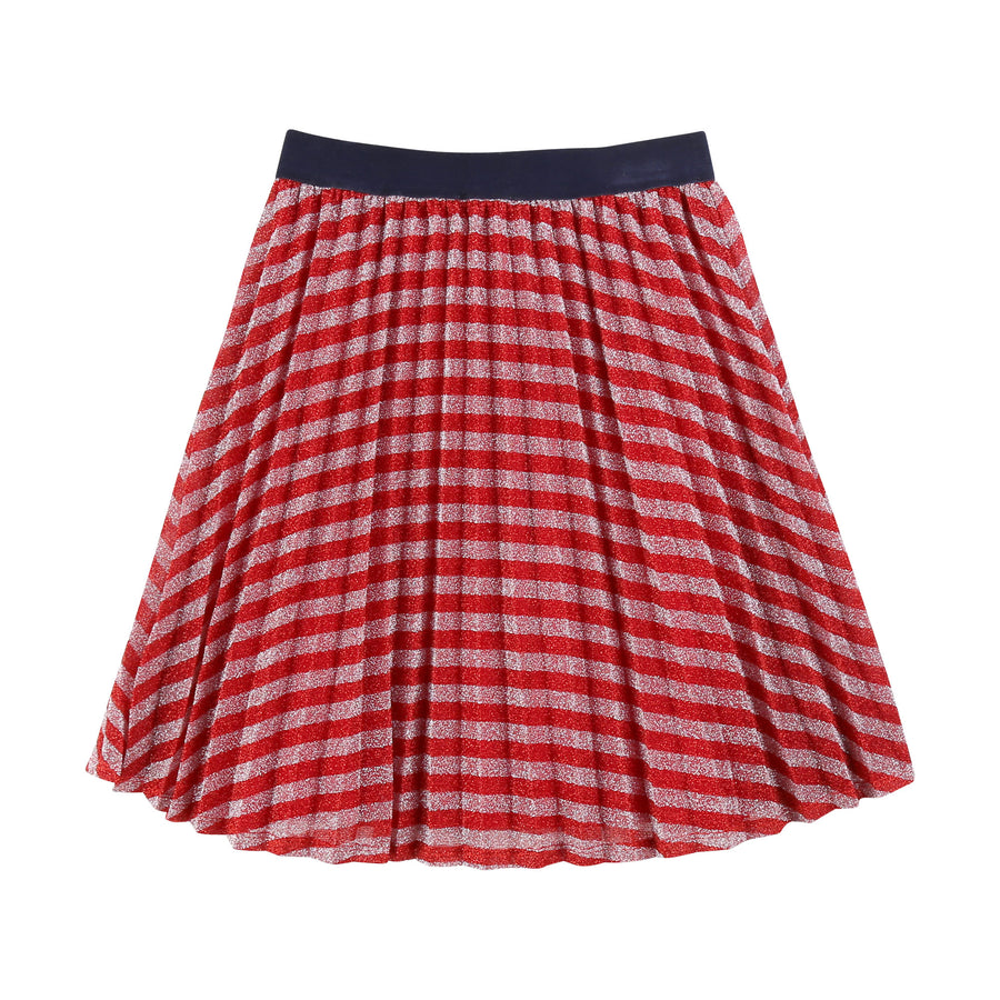 Red Rose Striped Skirt with Logo Detail by Little Marc Jacob