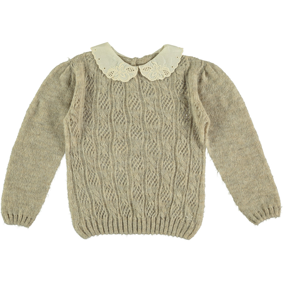 Beige Collar Sweater by Tocoto Vintage