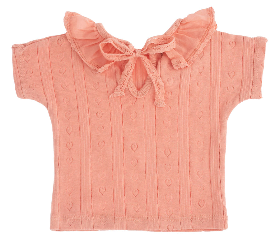 Pink Pointelle T-Shirt by Tocoto Vintage