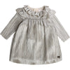 Lame Pleated Collared Dress With Flounces by Carrement Beau