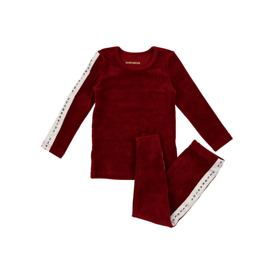 Celine Red Signature Velvet PJs by Zeebra