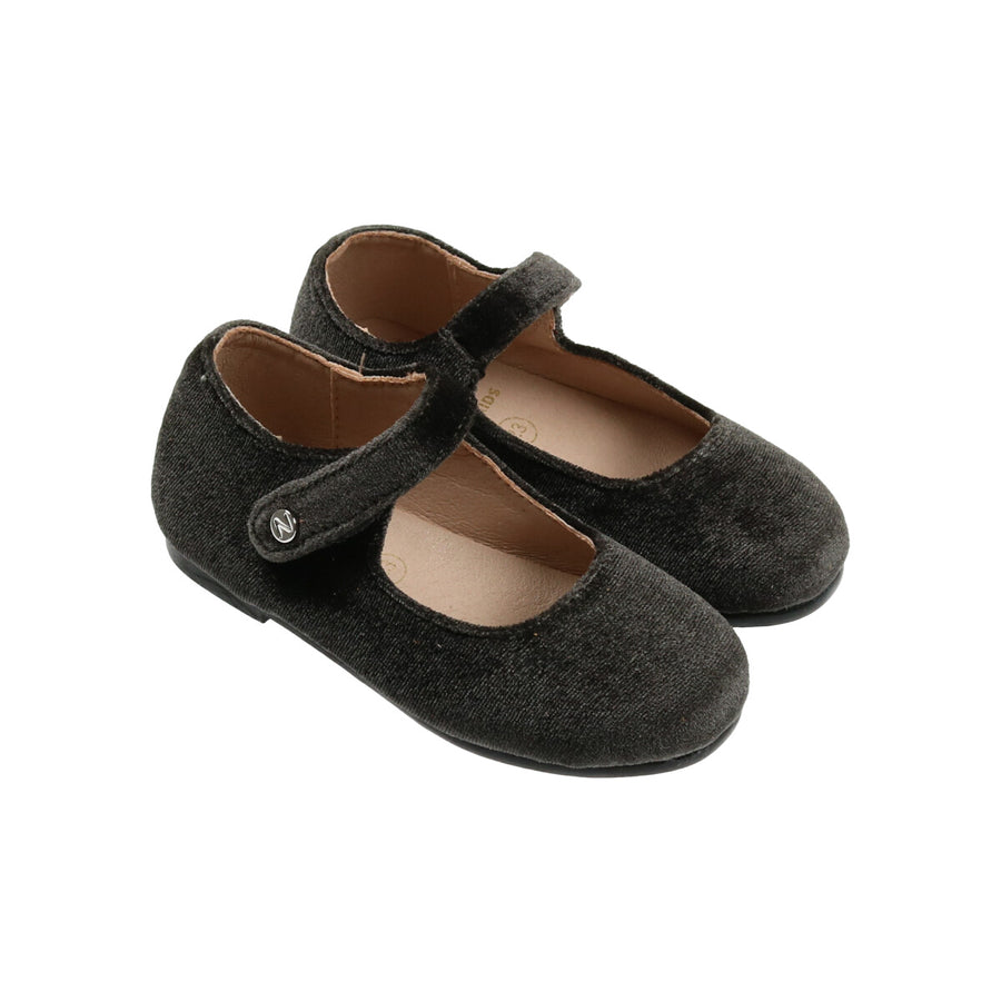 Hamilton Grey Velvet Mary Janes by Zeebra