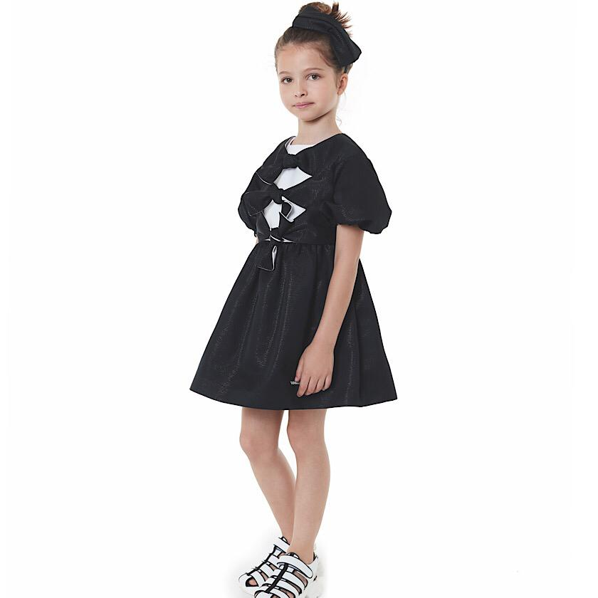 Bow Shimmer Black Dress by Val Max