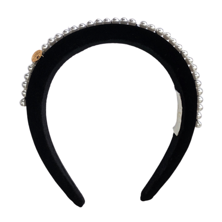 Amelia Pearl Velvet Padded Headband by Halo Luxe