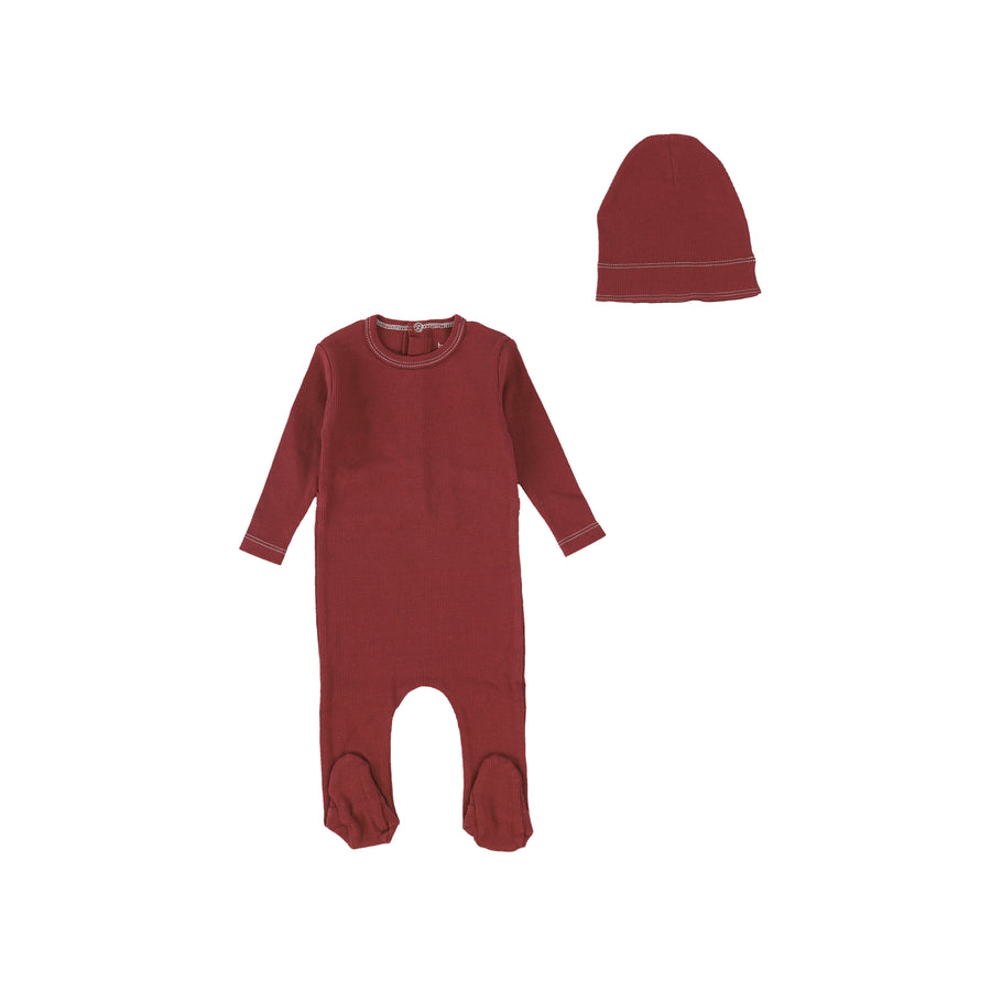 Rust Red Classic Rib Footie and Beanie by Bee and Dee