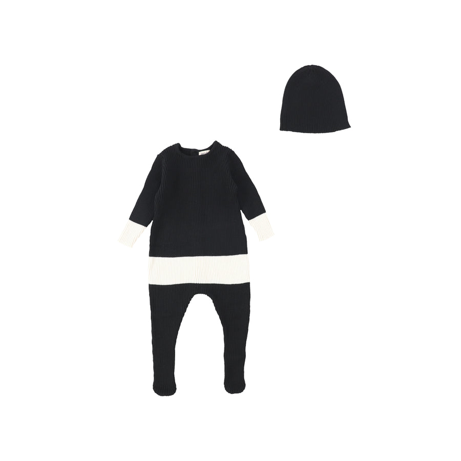 Black Colorblock Knit Footie and Beanie by Bee and Dee