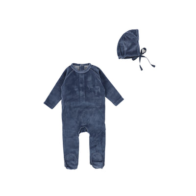 Ocean Blue Classic Velour Footie and Bonnet by Bee and Dee