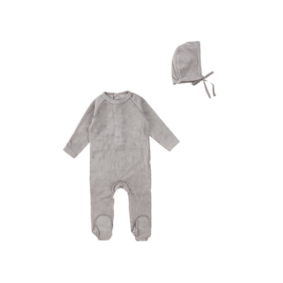 Grey Classic Rib Footie and Bonnet by Bee and Dee