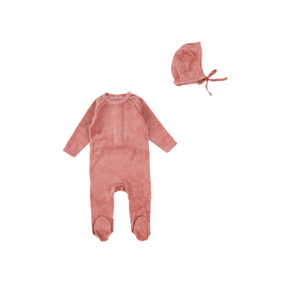 Dusty Pink Classic Velour Footie and Bonnet by Bee and Dee