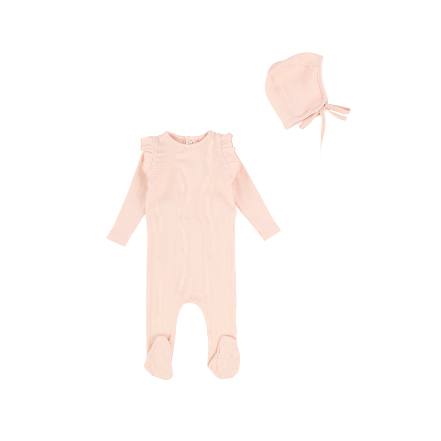 Blush Ruffled Footie by Bee and Dee