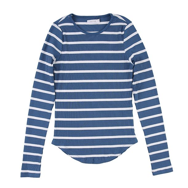 Blue White Ribbed Stripe Tee by Luna Mae