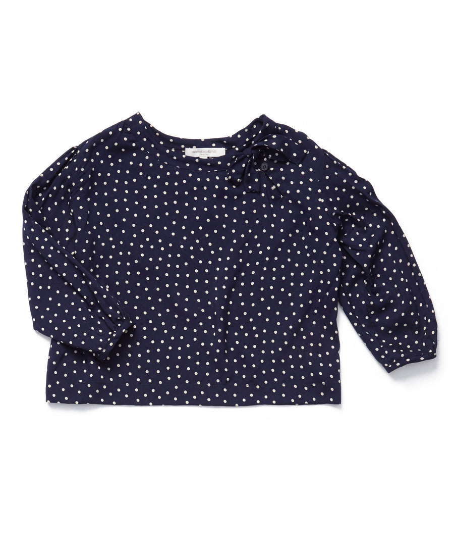 Navy Polka Dot Charnwood Blouse by Caramel Baby & Child