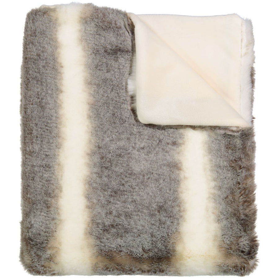 Chinchilla Heavy Stripe Fur Blanket by Peluche